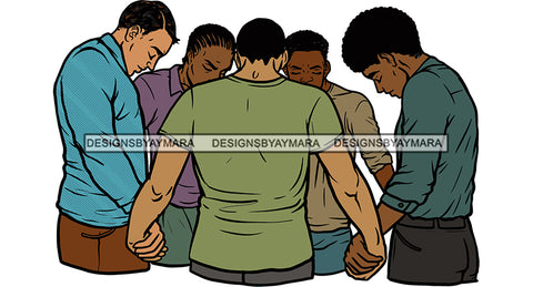 Afro Black Men Praying God Togetherness Religious Unity Faith  SVG Cutting Files For Silhouette Cricut