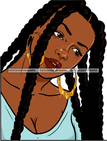 Afro Urban Street Black Girls Babe Bamboo Hoop Earrings Sexy Braids Hair Style  SVG Cutting Files For Silhouette Cricut