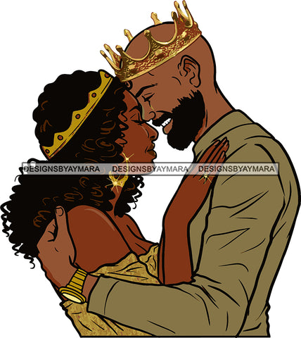 Black Couple Sexy Relationship African King Queen Bamboo Earrings Crown Family Falling in Love Young Adult SVG Cutting Files For Silhouette and Cricut