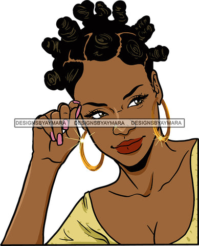 Afro Urban Street Girls Babe Bamboo Hoop Earrings Sexy Banku Knots Hair Style  SVG Cutting Files For Silhouette Cricut
