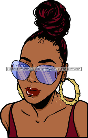 Afro Urban Street Black  Girls Babe Bamboo Hoop Earrings Sexy Sunglasses Bun Up Do Hair Style  SVG Cutting Files For Silhouette Cricut