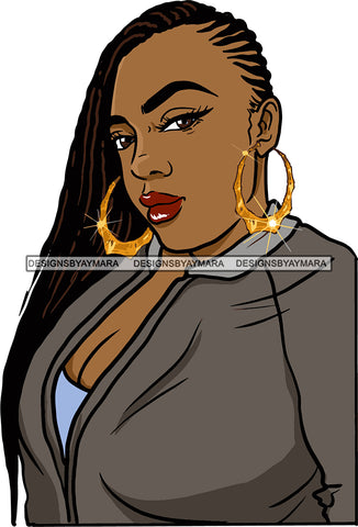 Afro Urban Street Girls Babe Bamboo Hoop Earrings Sexy Corn Row Hair Style  SVG Cutting Files For Silhouette Cricut