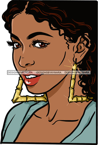 Afro Urban Street Girls Babe Bamboo Earrings Sexy Curly Hair Style  SVG Cutting Files For Silhouette Cricut