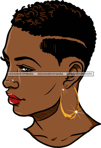 Afro Urban Street Girls Babe Bamboo Hoop Earrings Sexy Short Hair Style  SVG Cutting Files For Silhouette Cricut