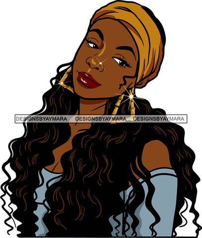 Afro Urban Street Girls Babe Bamboo Earrings Sexy Bandana Wavy Long Hair Style  SVG Cutting Files For Silhouette Cricut