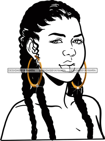 Afro Urban Street Girls Babe Bamboo Hoop Earrings Sexy Corn Row Braids Hair Style B/W SVG Cutting Files For Silhouette Cricut