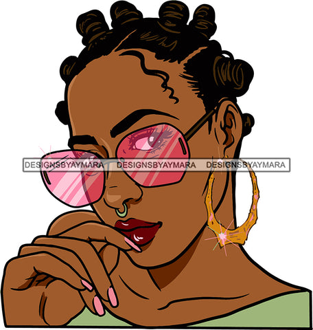 Afro Urban Street Black Girl Babe Bamboo Hoop Earrings Sunglasses Sexy Bank Knots Hair Style  SVG Cutting Files For Silhouette Cricut