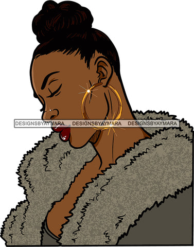Afro Urban Street Girl Babe Bamboo Hoop Earrings Boa Fur Sexy Up Do Hair Style SVG Cutting Files For Silhouette Cricut