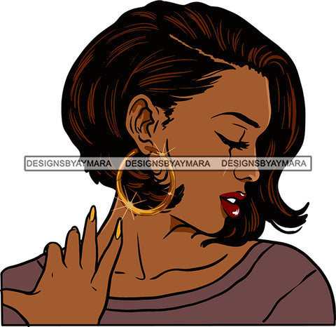 Afro Urban Street Black Girl Babe Bamboo Hoop Earrings Sexy Short Hair Style  SVG Cutting Files For Silhouette Cricut