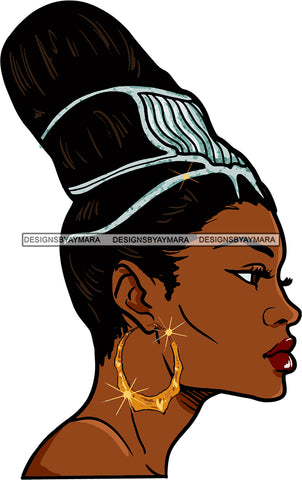Afro Urban Street Girl Babe Bamboo Hoop Earrings Sexy Up Do Hair Style SVG Cutting Files For Silhouette Cricut