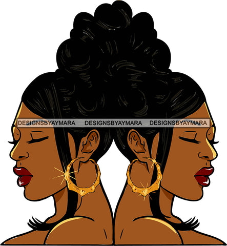 Afro Urban Street Girls Babe Bamboo Hoop Earrings Sexy Twins Up Do Hair Style SVG Cutting Files For Silhouette Cricut