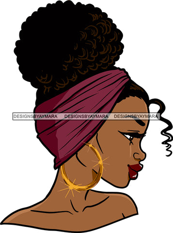 Afro Urban Street Girl Babe Bamboo Hoop Earrings Bandana Sexy Up Do Hair Style SVG Cutting Files For Silhouette Cricut