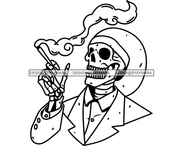 Skull Smoking Weed Cannabis 420 Medical Marijuana Leaves Suit Hat Pot Stone High Life Smoker Drug B/W SVG PNG Vector Clipart Silhouette Cricut Cut Cutting