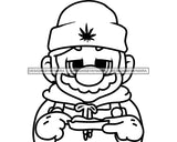 Fictional Character Clown Wearing Beanie Rolling Marijuana Joint Cannabis Leaf B/W SVG PNG JPG Vector Clipart Silhouette Cricut Cutting
