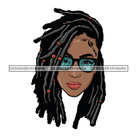 Afro Woman Dreads Braids Hairstyle Glasses Boss Lady Dope Diva Glamour Hot Selling .SVG Cutting Files For Silhouette Cricut and More!