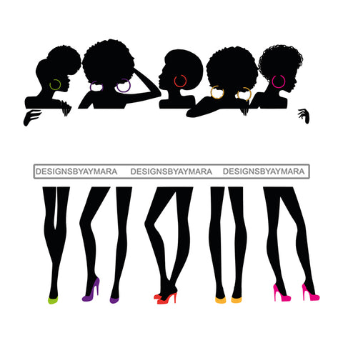 Group Of Black Sexy Women Silhouettes Holding Banner Sign Logo Business Advertising Melanin Hot Seller SVG Cut Files For Silhouette Cricut More
