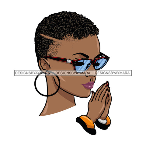 Afro Beautiful Black Woman Praying God Sunglasses Short Hair Style SVG Files For Silhouette Cricut And More