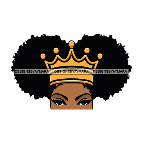 Afro Attractive Black Woman Queen Royalty Pigtails Hair Style SVG Cutting Files For Silhouette Cricut More