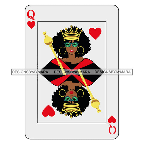 Afro Attractive Black Woman Queen Of Hearts Casino Cards Royalty Afro Hair Style SVG Cutting Files For Silhouette Cricut More