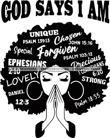 Afro Woman Praying God says I'm SVG Files For Silhouette Cricut And More!