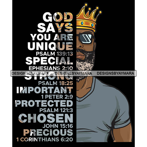 Afro Sexy Man King Half Body God Says Religious Quotes Beard Sunglasses Crown Dark Background SVG JPG PNG Vector Clipart Cricut Silhouette Cut Cutting