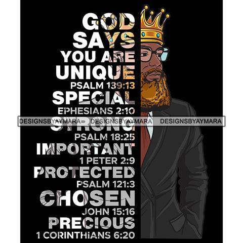 Afro Sexy Man King Half Body God Says Religious Quotes Blonde Beard Sunglasses Crown Dark Background SVG JPG PNG Vector Clipart Cricut Silhouette Cut Cutting