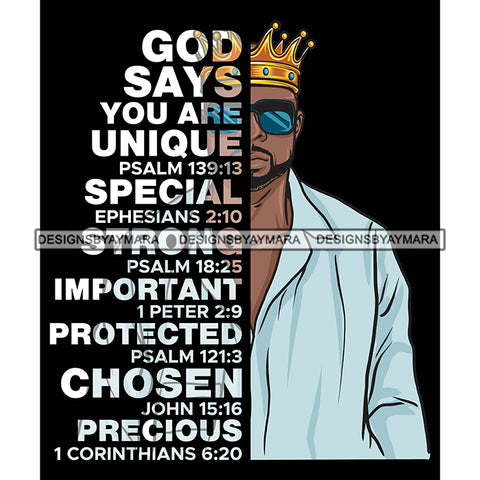 Afro Sexy Man King Half Body God Says Religious Quotes Beard Sunglasses Crown Blue Shirt Dark Background SVG JPG PNG Vector Clipart Cricut Silhouette Cut Cutting