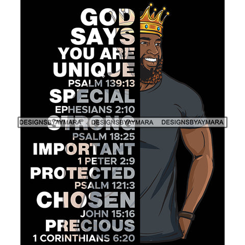 Afro Sexy Man Smiling King Half Body God Says Religious Quotes Beard Crown Dark Background SVG JPG PNG Vector Clipart Cricut Silhouette Cut Cutting