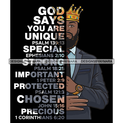 Afro Sexy Man King Half Body God Says Religious Quotes Beard Suit Tie Crown Dark Background SVG JPG PNG Vector Clipart Cricut Silhouette Cut Cutting