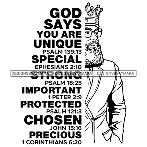 Afro Sexy Man King Half Body God Says Religious Quotes Suit Beard Sunglasses Crown B/W SVG JPG PNG Vector Clipart Cricut Silhouette Cut Cutting