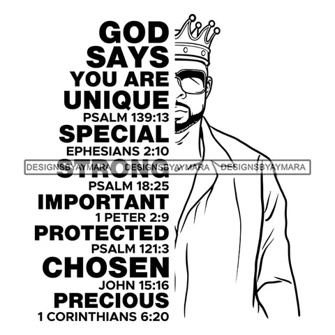 Afro Sexy Man King Half Body God Says Religious Quotes Beard Sunglasses Crown Shirt B/W SVG JPG PNG Vector Clipart Cricut Silhouette Cut Cutting