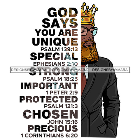 Afro Sexy Man King Half Body God Says Religious Quotes Blonde Beard Sunglasses Crown White Background SVG JPG PNG Vector Clipart Cricut Silhouette Cut Cutting