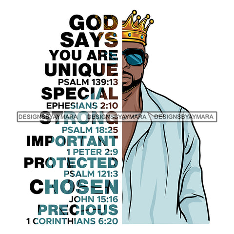 Afro Sexy Man King Half Body God Says Religious Quotes Beard Sunglasses Crown Blue Shirt White Background SVG JPG PNG Vector Clipart Cricut Silhouette Cut Cutting