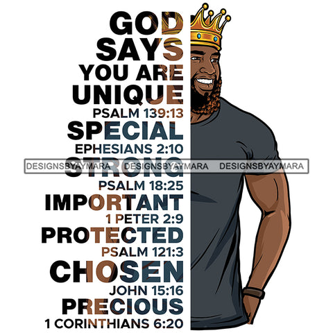 Afro Sexy Man Smiling King Half Body God Says Religious Quotes Beard Crown White Background SVG JPG PNG Vector Clipart Cricut Silhouette Cut Cutting