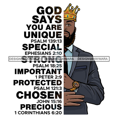 Afro Sexy Man King Half Body God Says Religious Quotes Beard Suit Tie Crown White Background SVG JPG PNG Vector Clipart Cricut Silhouette Cut Cutting