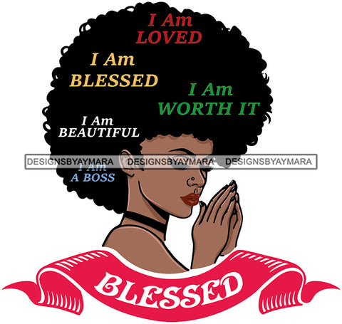 Afro Woman Praying Diva Glamour Goddess Dark Skin Color SVG Cutting Files For Silhouette Cricut and More!