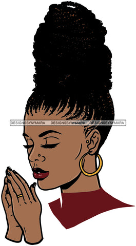 Afro Woman Praying God Diva Glamour Goddess Dark Skin Color SVG Cutting Files For Silhouette Cricut and More!