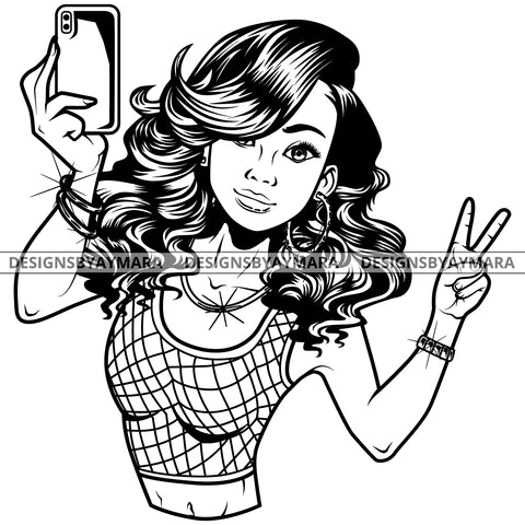 Black Goddess Lola Selfie Deuces Nubian Bamboo Hoop Earrings Sexy Fashion Portrait Woman Wavy Hair Style B/W SVG Cutting Files For Silhouette  Cricut