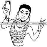 Black Goddess Lola Selfie Deuces Nubian Bamboo Hoop Earrings Sexy Fashion Portrait Woman Short Hair Style B/W SVG Cutting Files For Silhouette  Cricut
