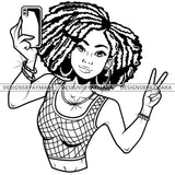 Black Goddess Lola Selfie Deuces Nubian Bamboo Hoop Earrings Sexy Fashion Portrait Woman Dreadlocks Hair Style B/W SVG Cutting Files For Silhouette  Cricut