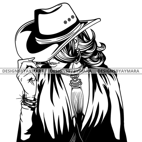 Afro Lola Black Goddess Cow Girl Necklace Portrait Bamboo Hoop Earrings Sexy Fashion Woman Wavy Hair Style B/W SVG Cutting Files For Silhouette  Cricut