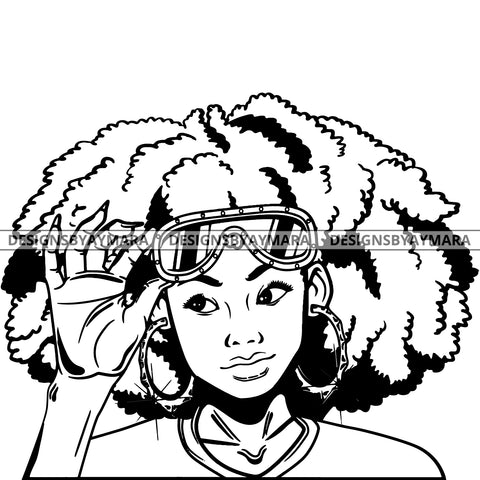 Black Goddess Lola Boss Lady Glasses Nubian Portrait  Bamboo Hoop Earrings Sexy Woman Afro Hair Style B/W SVG Cutting Files For Silhouette  Cricut