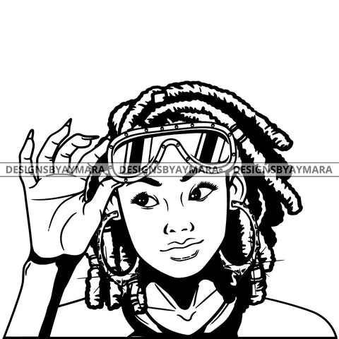 Black Goddess Lola Boss Lady Glasses Nubian Portrait Bamboo Hoop Earrings Sexy Fashion Woman Dreadlocks Hair Style B/W SVG Cutting Files For Silhouette  Cricut