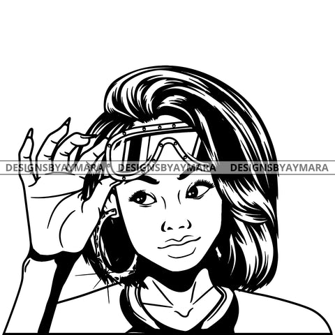 Black Goddess Lola Boss Lady Glasses Nubian Portrait  Bamboo Hoop Earrings Sexy Fashion Woman Straight Hair Style B/W SVG Cutting Files For Silhouette  Cricut