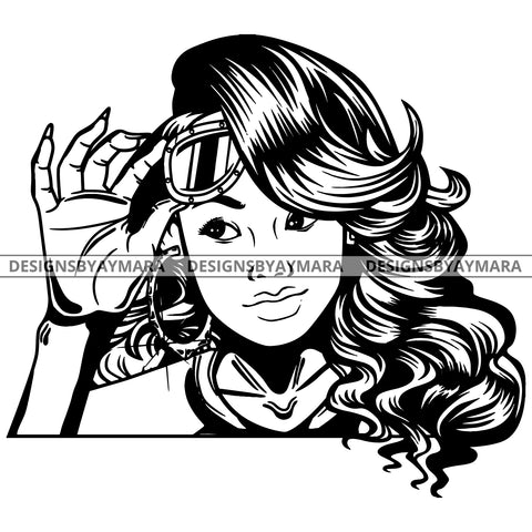 Black Goddess Lola Boss Lady Glasses Nubian Portrait  Bamboo Hoop Earrings Sexy Fashion Woman Wavy Hair Style B/W SVG Cutting Files For Silhouette  Cricut