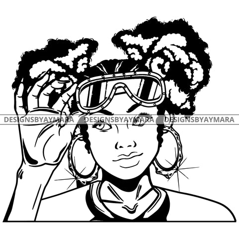 Black Goddess Lola Boss Lady Glasses Nubian Portrait  Bamboo Hoop Earrings Sexy Fashion Woman Pigtails Hair Style B/W SVG Cutting Files For Silhouette  Cricut