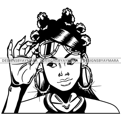 Black Goddess Lola Boss Lady Glasses Nubian Portrait  Bamboo Hoop Earrings Sexy Fashion Woman Banku Knots Hair Style B/W SVG Cutting Files For Silhouette  Cricut