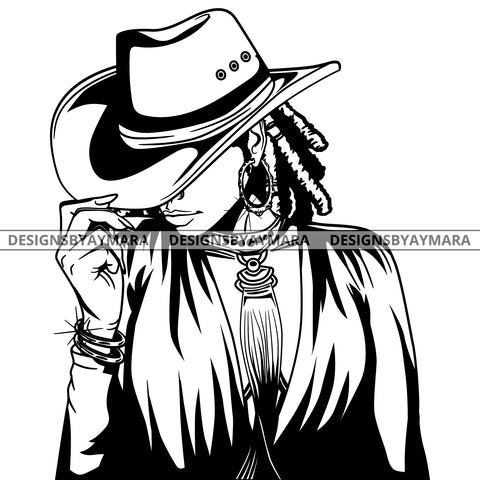 Afro Lola Black Goddess Cow Girl Necklace Portrait Bamboo Hoop Earrings Sexy Fashion Woman Dreadlocks Hair Style B/W SVG Cutting Files For Silhouette  Cricut