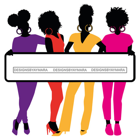 Group Of Black Women Silhouettes Holding Banner Sign Logo Business Advertising Melanin Hot Seller SVG Cut Files For Silhouette Cricut More