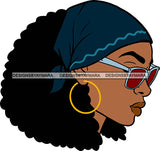 Afro Black Goddess Portrait Profile Bamboo Hoop Earrings Sunglasses Sexy Lips Woman Bandana Afro Hair Style  SVG Cutting Files For Silhouette  Cricut